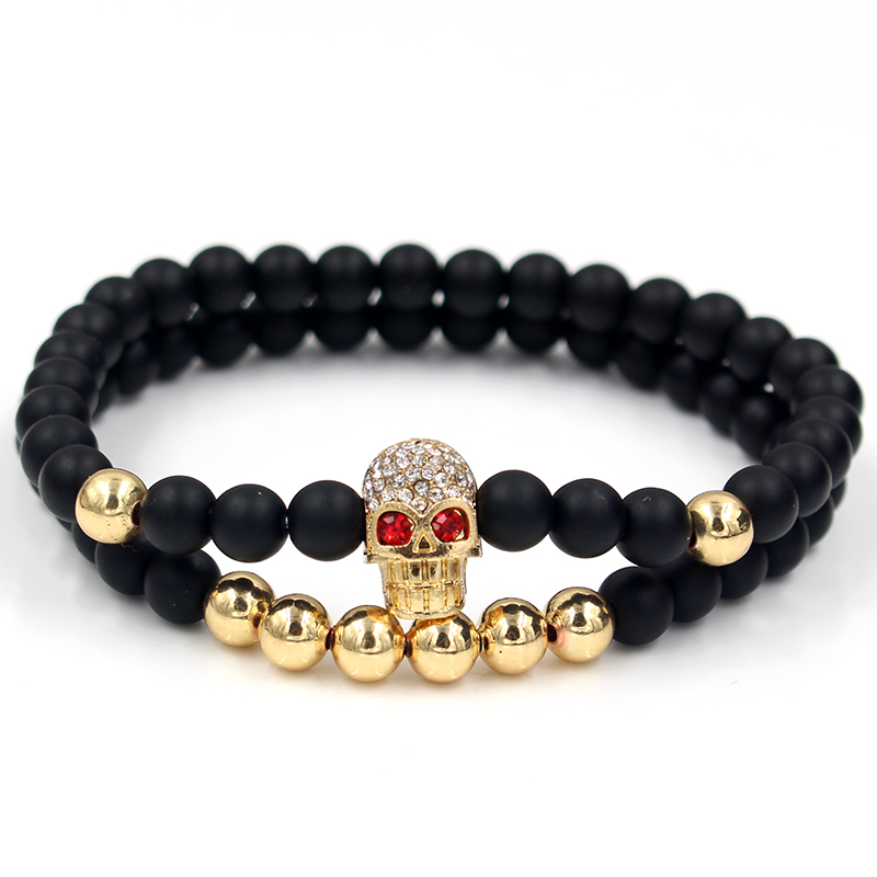 Fashion 2PCS/Set 6mm Black Matte Stone Copper Bead Bracelet Elastic Rope Bead CZ Ball,Leopard,Skull,Crown Bracelet For Men Women 2