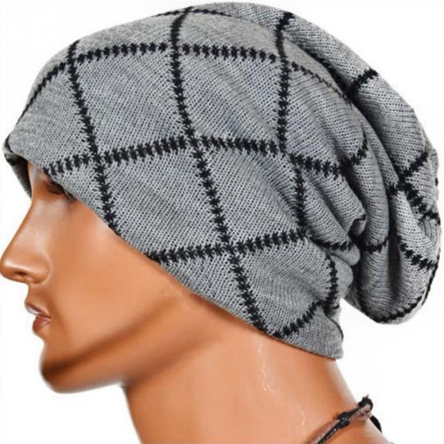 d7896e4ad18 2018 Winter Beanies men Knitted hat Warm Soft Beanie plus velvet Cap bonnet  Caps For Men