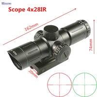 MIZUGIWA 4x28IR Tattico Rosso e Verde Illuminato Ottica Sniper Mirino Reticolo Mirino Ottico del Fucile di Caccia Scope 20mm Ferroviario