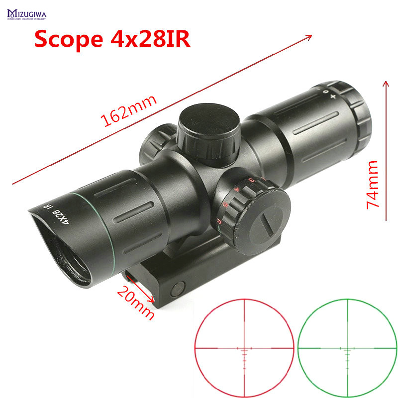 Tactical 4x28IR Red and Green Illuminated Optics Sniper Riflescope Reticle Optical Sight Rifle Scope 20mm Rail Hunting Caza red green blue illuminated tactical riflescope 5 20x50 aomc hunting scopes cross reticle sniper rifle scope air rifle optics