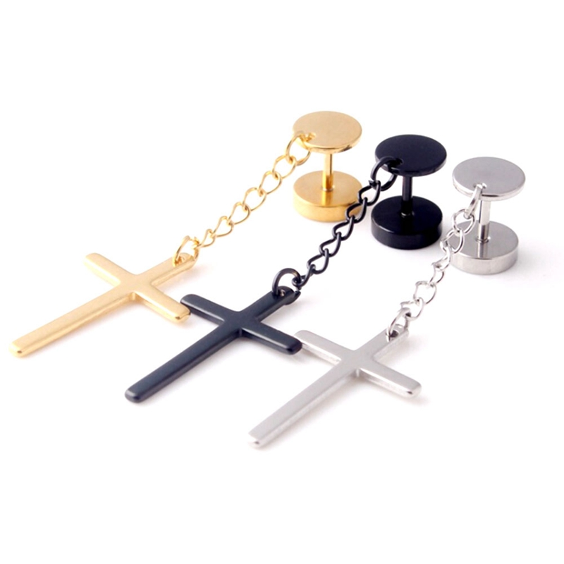 1 Piece! Punk Gothic Stainless Steel Stud Earring Cross Round Fake ear taper dumbbell Fashion Women Mens Rock Style Jewelry