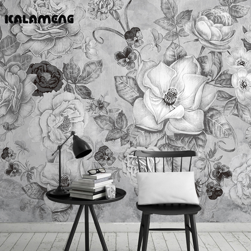 KALAMENG Sketch Photo Wall Mural 3D Wallpaper Papel De Parede  Living Room Tv Backdrop Wall Paper of Black and White Flowers brooklyn black and white wallpaper mural photo wallpaper 3d mural large wall painting mural backdrop stereoscopic wallpaper