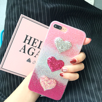 Dower Me Newest Fashion Bling Glitter Shinning Gradient Color Love Heart Star Soft TPU Phone Case