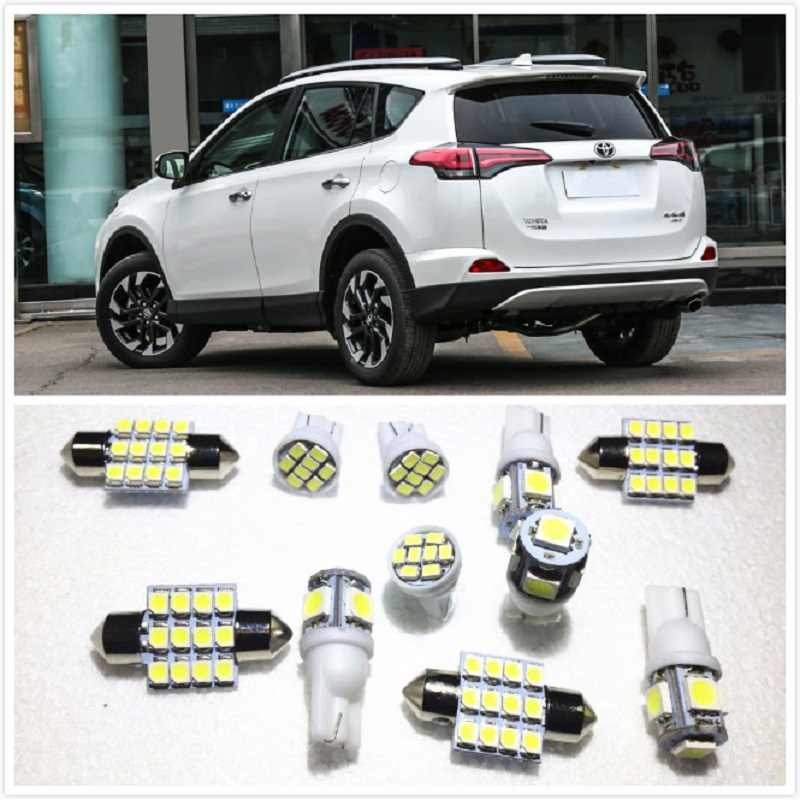 11 set White LED Lights Interior Package T10 & 31mm Map Dome For Toyota RAV4 Tacoma Sienna Yaris Venza Tundra Tarago 2000-2019