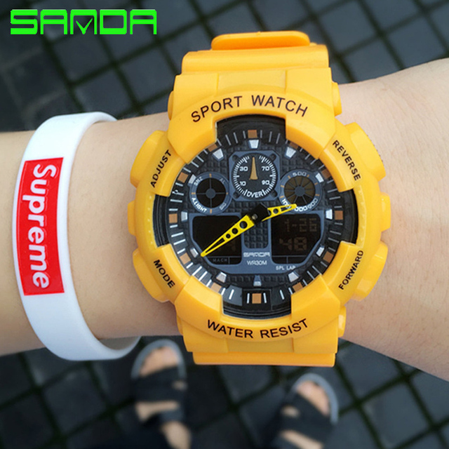 New Display Watch Men Military Sports Watches Fashion Silicone Waterproof LED Di
