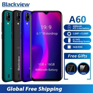 Blackview A60 6,1 дюймовый экран капли смартфон MT6580 четырехъядерный 1 Гб 16 Гб мобильный телефон 4080 мАч 13MP Android 8,1 3g мобильные телефоны