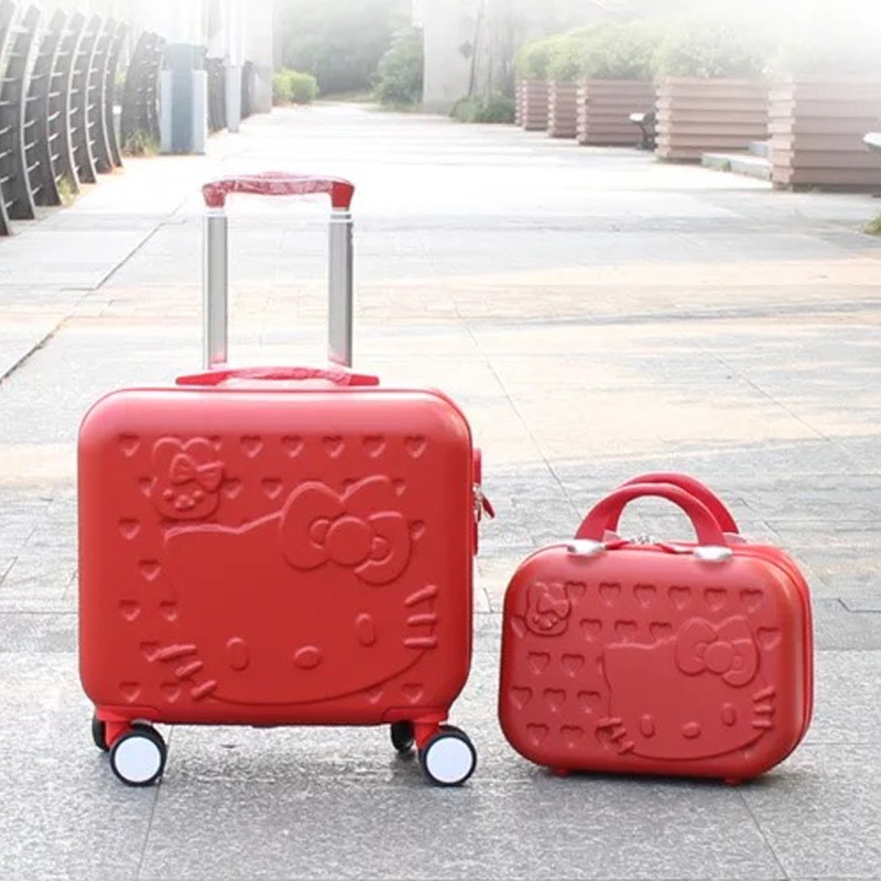 Hello Kitty Luggage bag,Children Women lovely Suitcase set,ABS Cartoon Travel Box,Rolling Trolley Hardcase bag ,16 and 14 inch