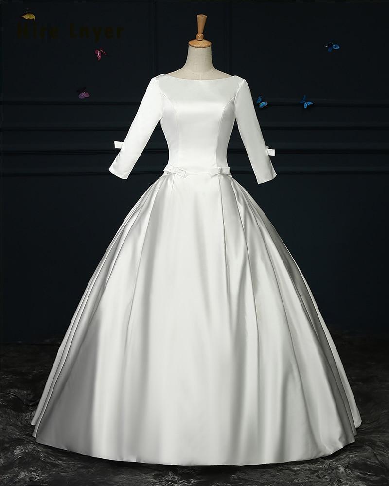 Vintage Three Quarter Length Wedding Dresses: NAJOWPJG Custom Made Robe De Mariage Three Quarter Sleeve