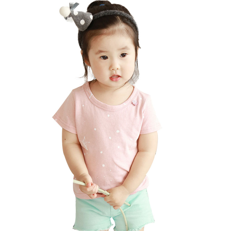 Childrens clothing 2016 Korean summer pure cotton short sleeve star pattern pink girl T-shirt and cute casual baby girl tshirt