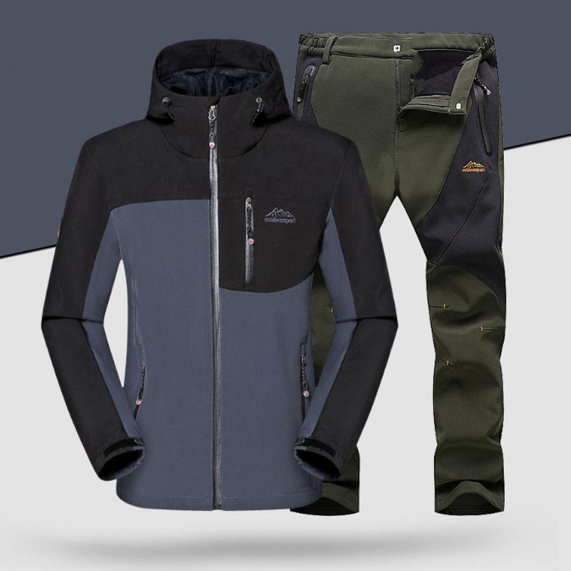 Nouveau homme hiver imperméable pêche Camping Trekking polaire SoftShell extérieur veste pantalon ensemble Sport randonnée pantalon taille XL-5XL