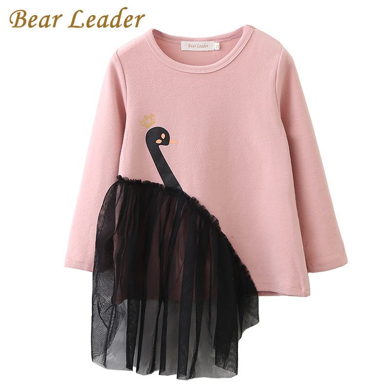 Bear Leader Girls T-Shirt 2018 Autumn Brand Baby Girls Full T-Shirt 3D Print Swan Girl Shirts Children Clothing Blouse For 3-7Y 3d florals print cover placket shirt