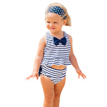 ARLONEET 2pc Girls striped bow swimsuit baby swimwear for girls kids summer swimwear for baby girls swimming swimsuit kids cheap Fashion O-Neck Sets Pullover Baby Girl Swimwear Polyester Sleeveless REGULAR Fits true to size take your normal size Vest