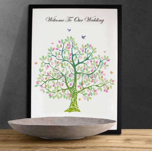 3042 CM Wedding Guestbook Ideas Diy Fingerprint Tree Canvas Printing For Bridal Shower