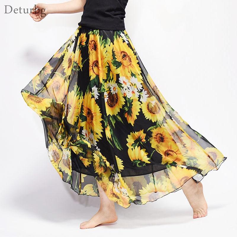 New Fashion 2018 Women's BOHO Elegant Florals Print Chiffon Long Skirt Ladies Slim High-Waist Elastic Waist Pleated Skirts SK15