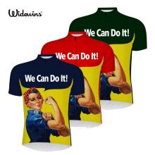 new cartoon we can do it cycling jersey short sleeve blue funny shirt yellow bike wear clothing 6509