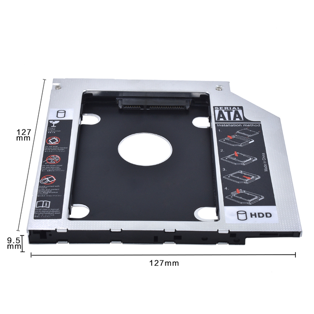 """TISHRIC 2018 Aluminum Universal 2nd HDD Caddy 9.5mm SATA 3.0 Optibay Case 2.5""""SSD DVD Drive Box Enclosure Adapter For Notebook"""