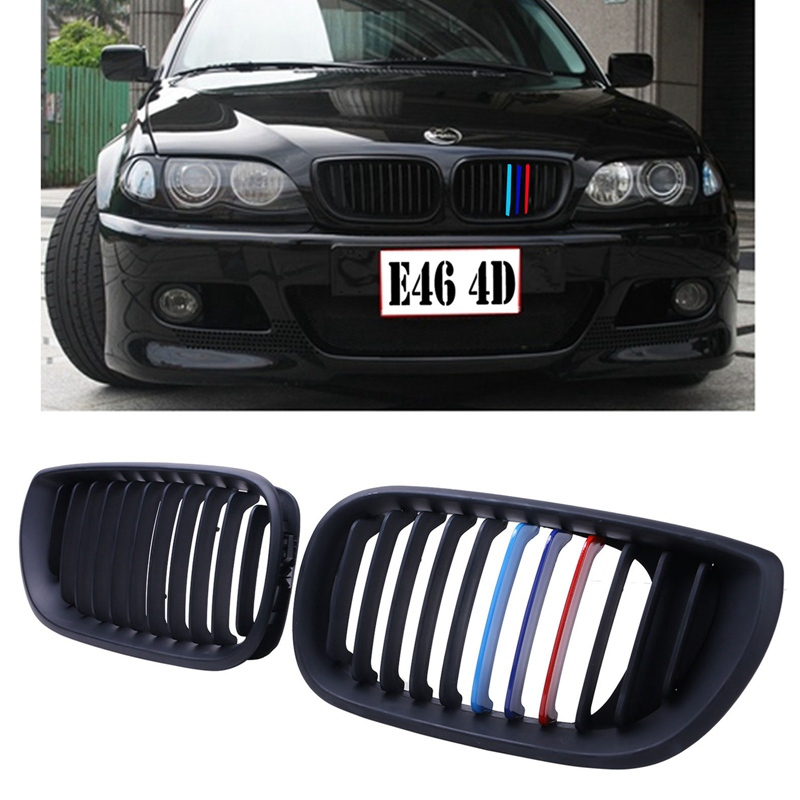 New Top Quality Matte Black M-color Kidney Grills Front Grille For BMW E46 3 Series 4D 2002-2005 # CASE 1 pair gloss black m color front bumper center kidney grilles for bmw x3 f25 2011 2012 2013 2014 racing grills