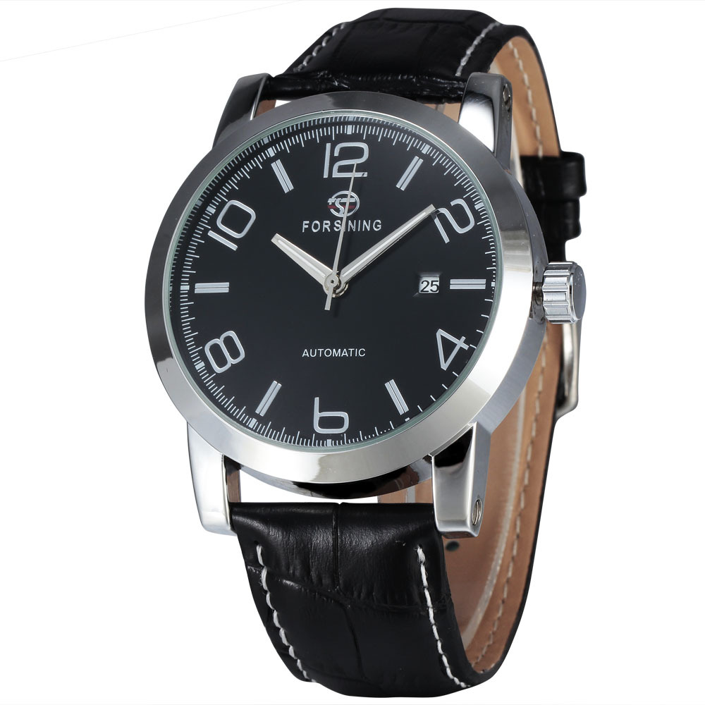 WINNER Casual Fashion Men s Mechanical Wristwatch Leather Strap Exquisite Dial Calendar Day Luminous Hand W