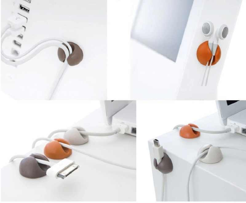 Cable Winder Earphone Cable Organizer Desktop Wire Storage Charger Cable Cord Holder Clips For Phone Charging USB Cable