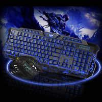 Gaming Keyboard Mouse Combo Backlit LED +Colorful Gaming Mouse Light 7 Buttons for Desktop Laptop DJA99