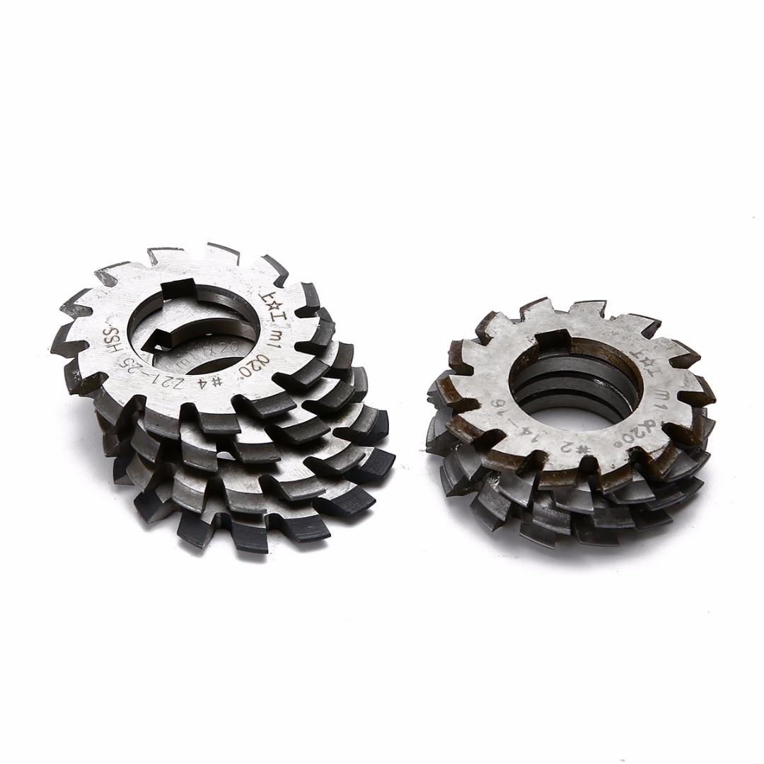 8pcs HSS Involute Gear Cutters Set Diameter 22mm M1 Module PA 20 Degree #1 8 Assortment Kit For Power Tools