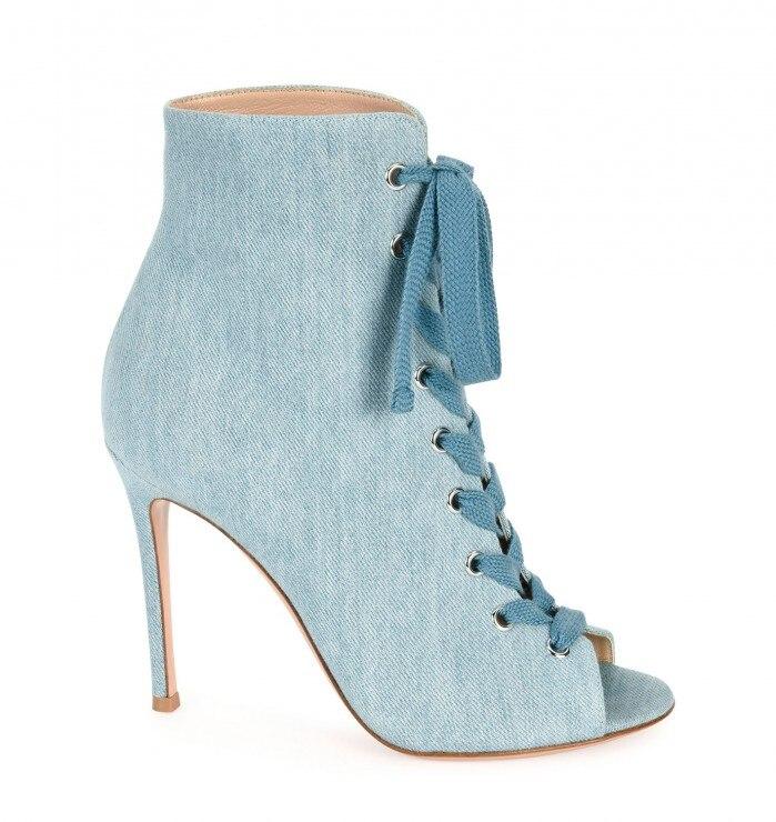 Denim Cheville Dentelle Ouvert Bleu Gladiateur Sexy Color Femme À Bottes Bout up Mode D'été Talons Showed Jeans Hauts Nouveau As q5R6AA