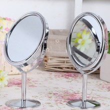 Double Face Dressing Mirror 360 Degree Rotating Portable Mini Cosmetic Makeup Mirror Silver Round Magnified Mirrors Make Up Tool цена