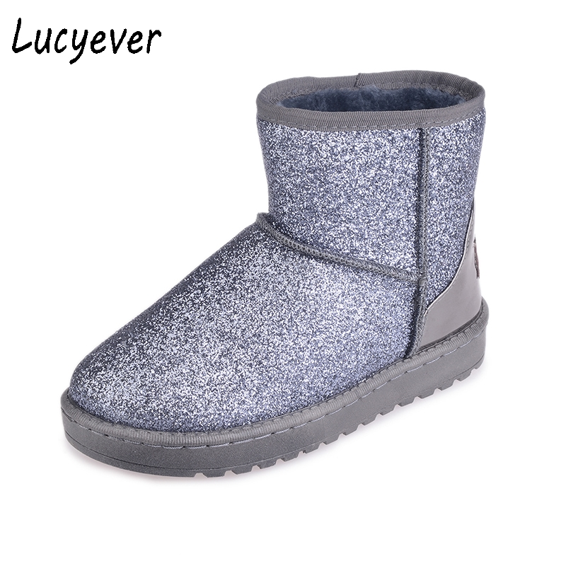 купить Lucyever Fashion Women Bling Glitter Snow Boots New Winter Thick Fur Warm Flat Platform Ankle Boots Slip On Student Cotton Shoes дешево