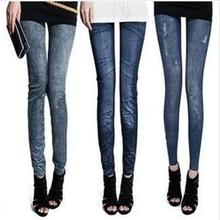 The new 2016 Winter Women Korean loose large size hot thicker seamless printing elastic imitation jeans printed leggings pants