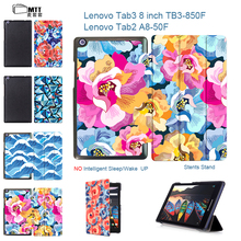MTT Rose Petal Magnetic Stand PU leather Case for Lenovo tab 3 8.0 TB3-850F 850M 2016 tablet cover cases for Lenovo TAB 2 A8-50F