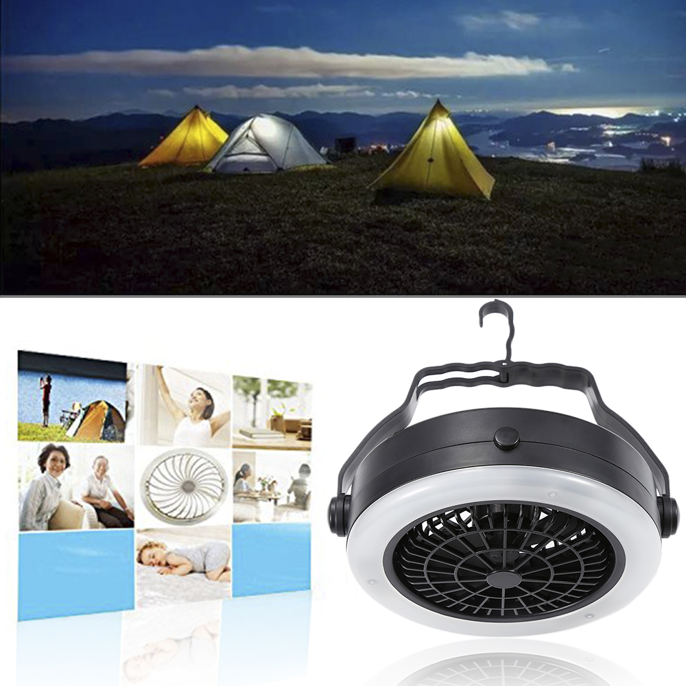 Rechargeable Mini Fan Outdoor Camping Portable LED Fan Light Hanging Tent Lamp With Hook Multifunction Battery Or USB Powered