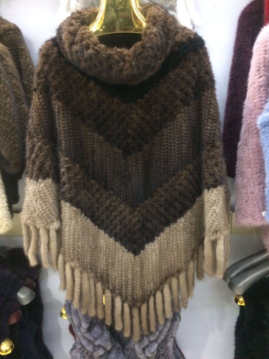Женские свитеры и пуловеры с кисточками Высокий воротник luxury Подлинная Вязаной Норки Большие размеры дамы 2018 теплые зимние пончо