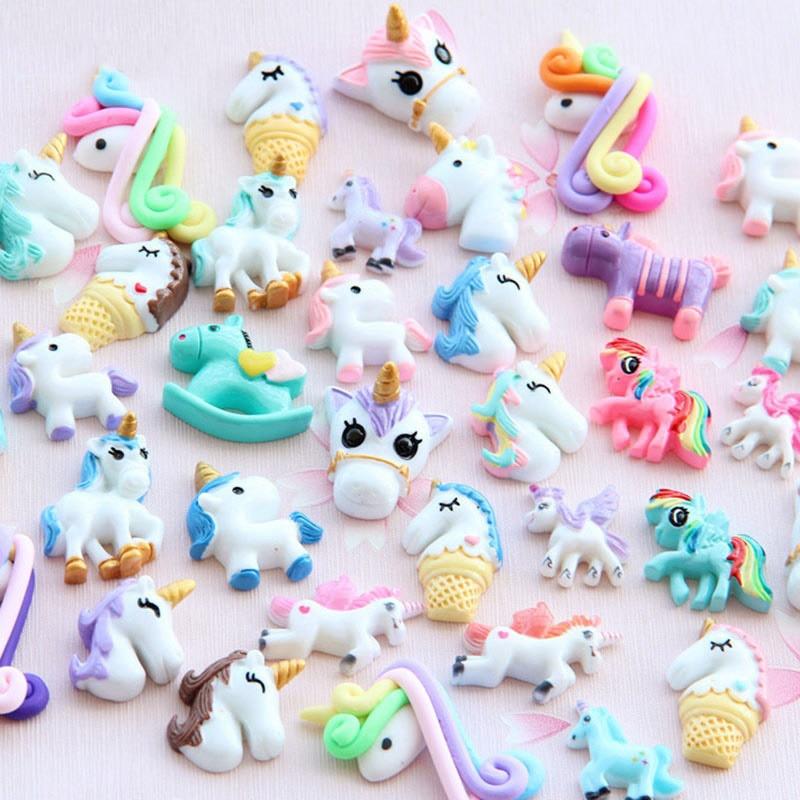 OL 30pcs/Bag Diy Resin Unicorn Filler Clear Slime Accessories Supply For Kids Lizun Unicorn Doll Figure Model Toy Decor