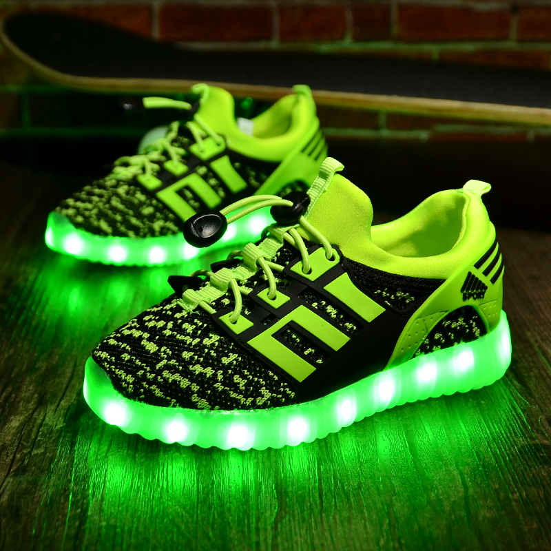 Child Jazzy USB rechargeable Junior Girls Boys LED Light Children Casual Shoes Kids Luminous Sneakers With glowing light summer