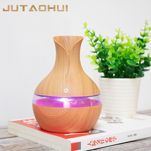 Essential humidifier aroma oil diffuser Wood Grain ultrasonic wood air USB cool mini mist maker LED lights for home