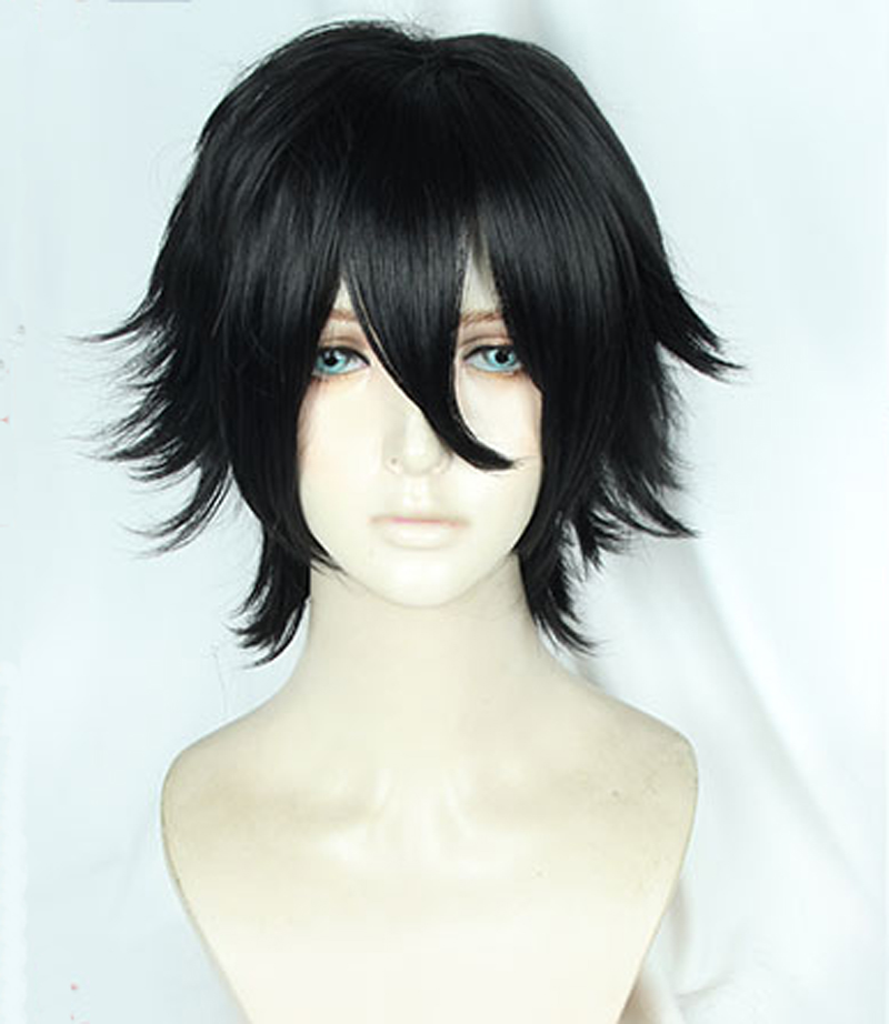 Anime Angels Of Death Zack Isaac Foster Wigs Short Black Heat Resitant Synthetic Hair Cosplay Wig + Wig Cap