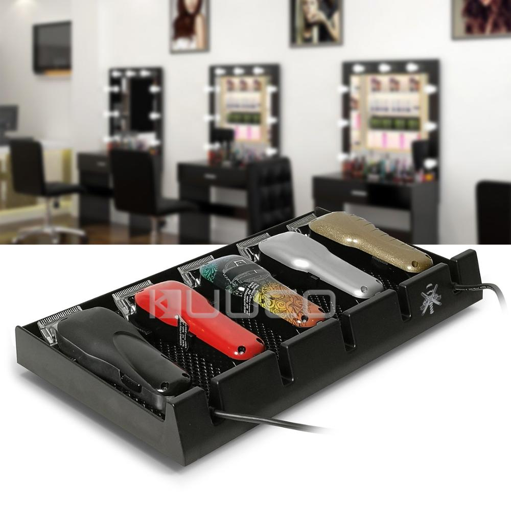 Salon Barber Clipper Tray Black Clippers Organizer Case with 5 Notches Professional Anti slip Hairdresser Tools Box in Storage Drawers from Home Garden