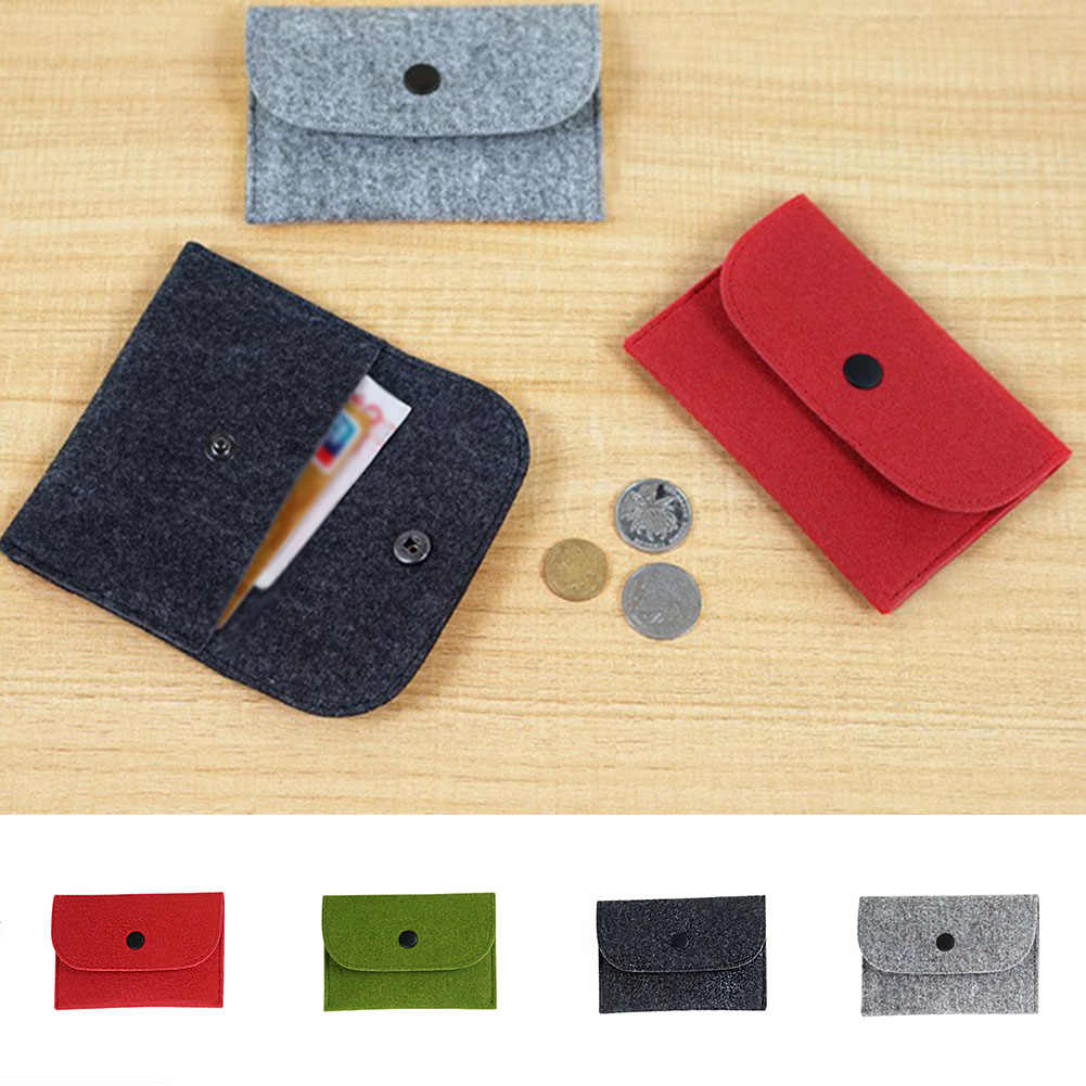 1PC mince portefeuille solide carré feutre Mini Porte-monnaie petit sac Mini portefeuille filles enfants changer sac à main sac pochette Porte monnaie
