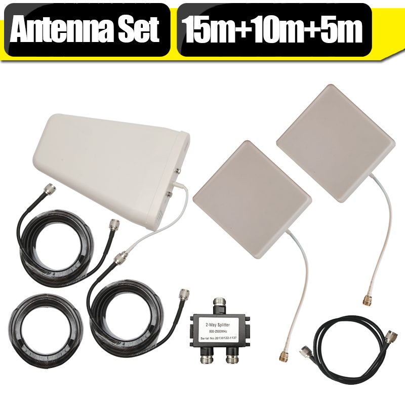 GSM CDMA 3G WCDMA 4G LTE Antenna Set For Signal Booster 10dBi Log Periodic Antenna + 9dBi Panel Antenna +15 Meters Coaxial Cable