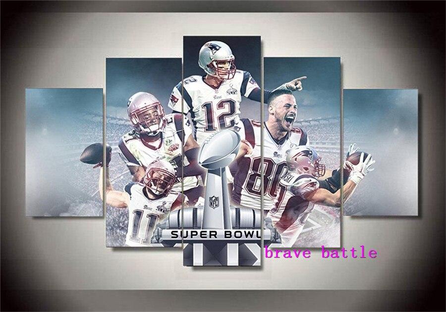 New England Patriots Super Bowl Toile Peinture Salon Décor À La Maison Moderne Art Mural Peinture À L'huile