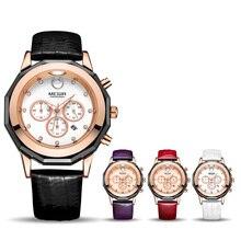 Megir Fashion Red White Watch Genuine Leather Band Female Women Bracelet Watches Quartz Wristwatch Waterproof Relogio Feminino