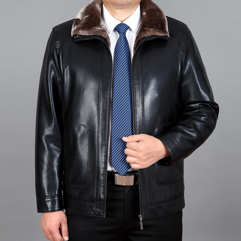 2016 New Male Fur Leather Men With Anti Cashmere Coat Thick Jacket Men warm leather jacket M-4XL