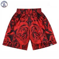 2017 Mr.1991INC Mooie Mannen/vrouwen 3d shorts 3d print rode grote rozen bloemen mesh ademend mooie joggers sneldrogende korte broek
