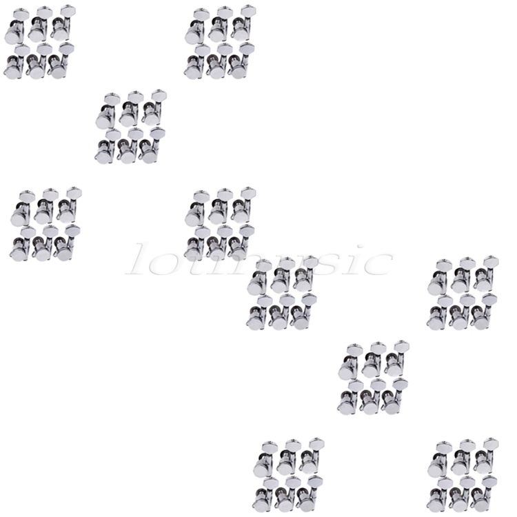 10Sets of 60pcs Locking Guitar Tuners Tuning Keys Pegs Machine Heads 6L Chrome цены