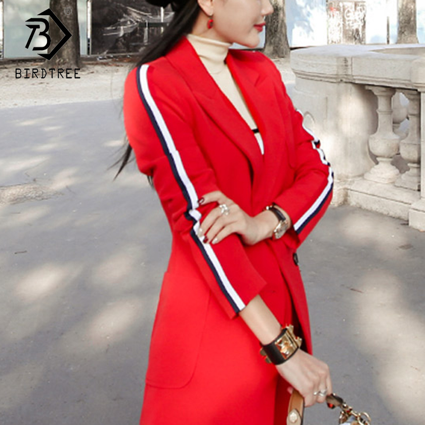 2018 New Arrival Autumn Women Casual Blazers Two Piece Set Fashion Office Lady Elegance Striped Red Tops And Long Pants S80327L