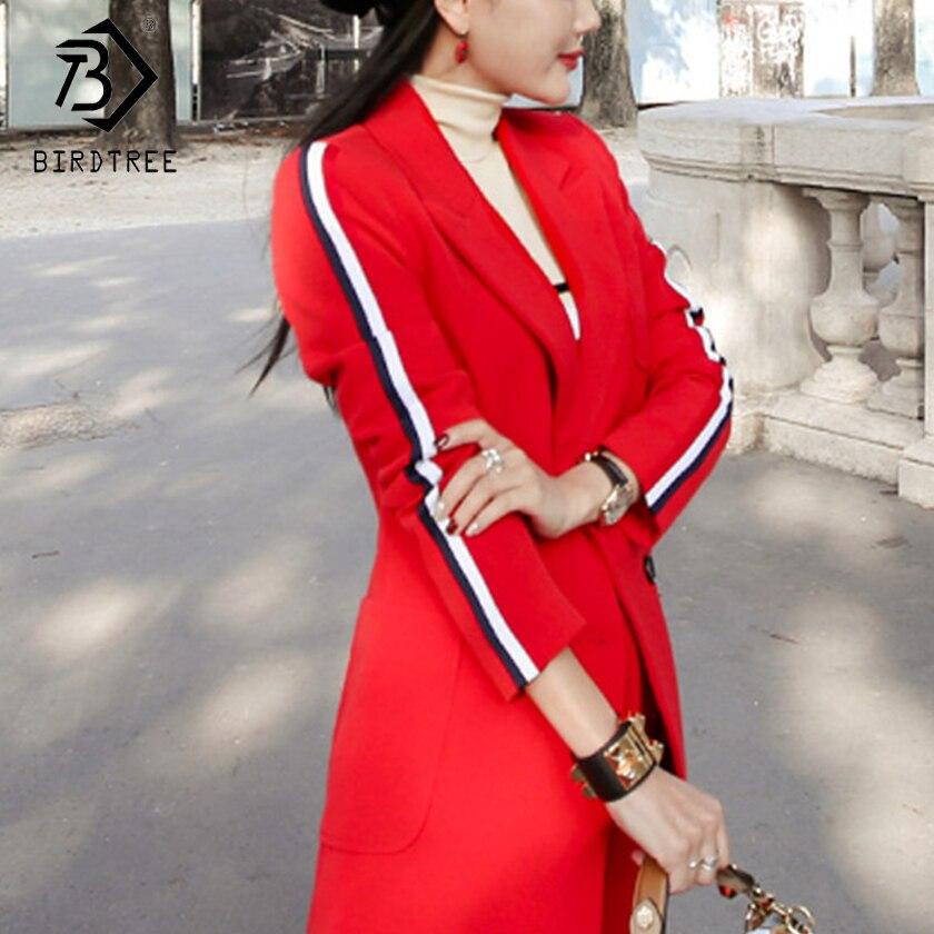 2018 새로운 도착 가을 여성 캐주얼 블레이 저 두 조각 세트 패션 사무실 레이디 우아함 스트라이프 레드 탑스와 긴 바지 s80327l-에서바지 슈트부터 여성 의류 의  그룹 1