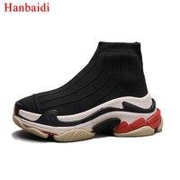 Runway Hanbaidi Muffin Grubym Dnem Buty Skarpety Kobieta Okrągły Toe Elastyczny Stretch Dzianiny Botki Zapatos Mujer Buty Kobiet 42