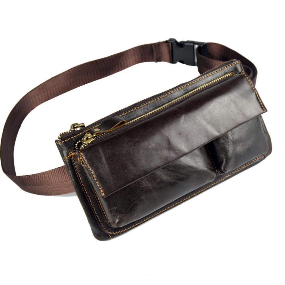Men Oil Wax Genuine Leather Vintage Hip Belt Fanny Pack Waist Purse Clutch Bag