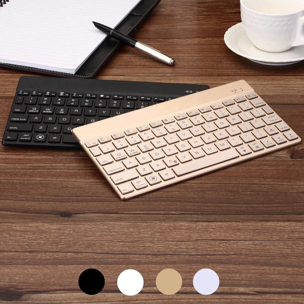 Ultra Thin Premium Portable 7 Colors LED Backlight Backlit Aluminum Wireless Bluetooth Keyboard Case Cover For