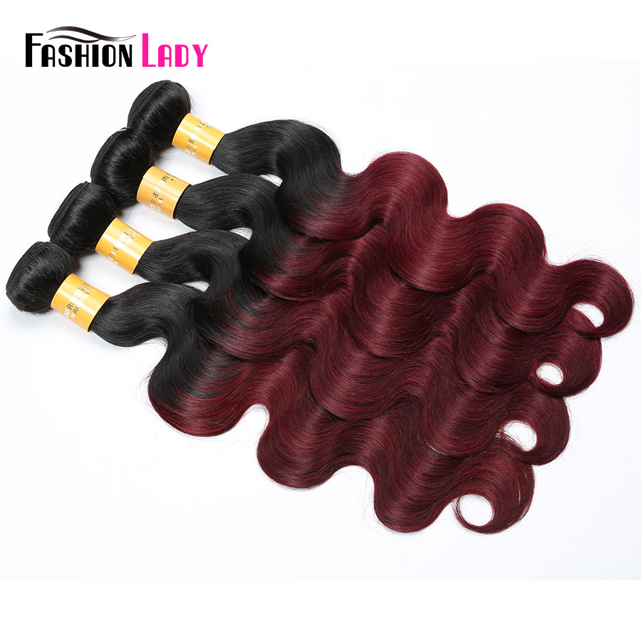 FASHION LADY Pre-Colored Red Ombre Hair Bundles 1B/99J Peruvian Human Hair Body Wave 1/3/4 Bundle Per Pack Non-Remy